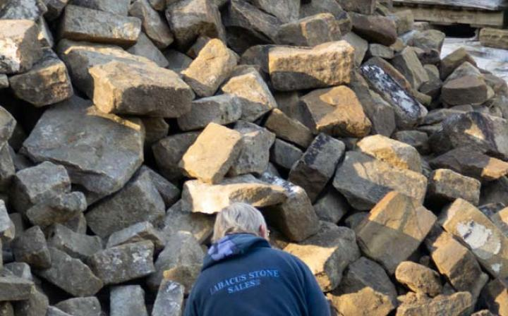 York walling stones being redressed at Abacus Stone Sales, West Yorkshire. Image Credit: Seunghun Lee